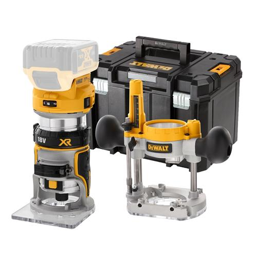DeWalt DCW604NT 18v XR Li-ion BL Router/Trimmer Bare Unit with Extra Bases