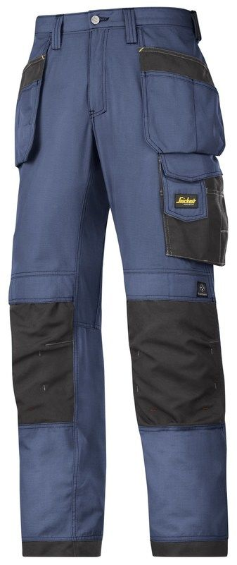 "Snickers 3213 Craftsmens Holster Pockets Trousers Rip-Stop - 38"" Tall - Navy/Black"